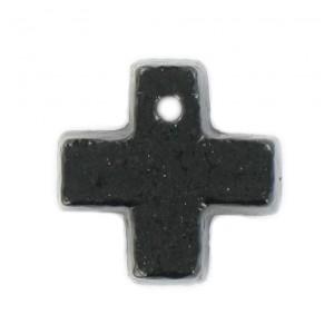 Cross pendant black 15 mm