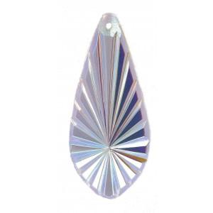 Pendentif poire strié Cristal AB 40x18 mm
