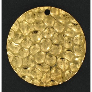 Gilded hammered round sequin 30 mm