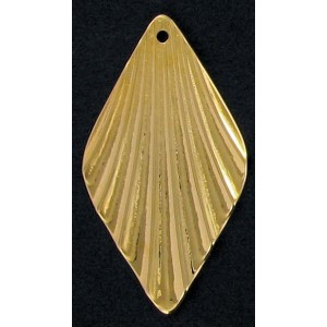 Gilded diamond shape corrugated pendant 39x22 mm