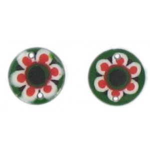 Flat disc green 2 holes flower decoration 13 mm