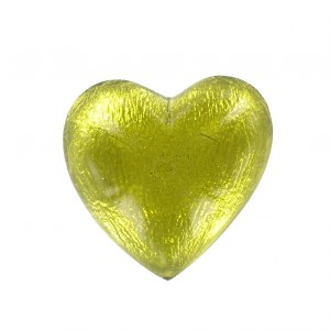 Cabochon coeur olivine 25 mm