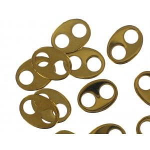 oval link 2 holes golden brown 14x10 mm