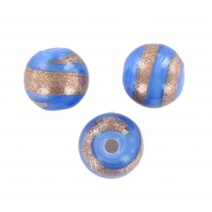 Round bead, blue with aventurine 12 mm