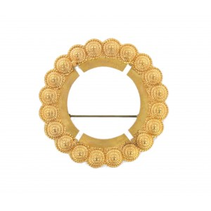Round brooch frame in brass for stone sizing 40 mm