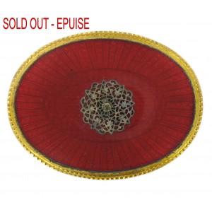Plaque laiton ovale émaillée avec griffes, rouge 73x55 mm