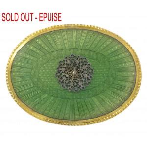 Plaque laiton ovale émaillée avec griffes, vert 73x55 mm