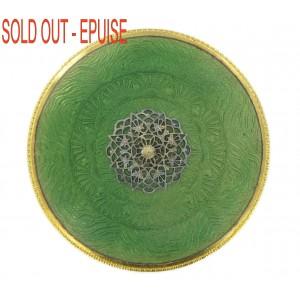 Plaque laiton ronde émaillée avec griffes, vert 77 mm