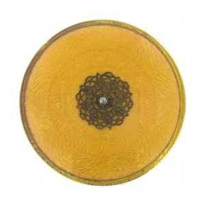Round enamelled brass plaque with claws, topaze 77 mm