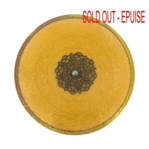 Plaque laiton ronde émaillée avec griffes, topaze 77 mm