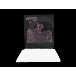 Plaque en verre sur socle, améthyste 60x55 mm