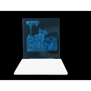 Glass plaque on its base, aquamarine 60x55 mm