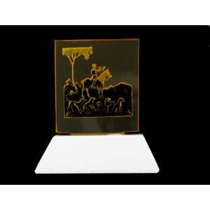 Glass plaque on its base, topaze 60x55 mm