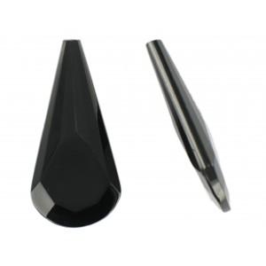 Pendant poire facetté trou borgne, noir 50x25 mm
