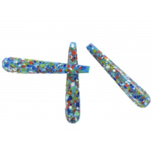 Spotted pendant, blind hole, blue 43x8 mm