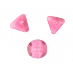Marbled bead, 3 cut faces, rose 13 mm