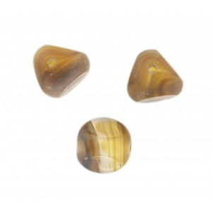 Marbled bead, 3 cut faces, topaz 13 mm