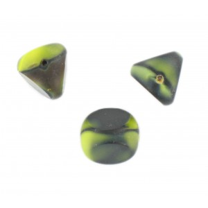 Marbled bead, 3 cut faces, green black 13 mm