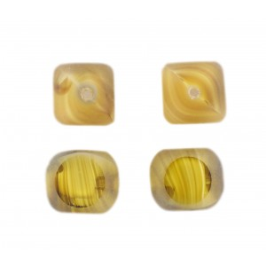 Marbled bead, 4 cut faces, topaz 14 mm