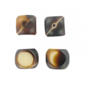 Marbled bead, 4 cut faces, brown beige 14 mm