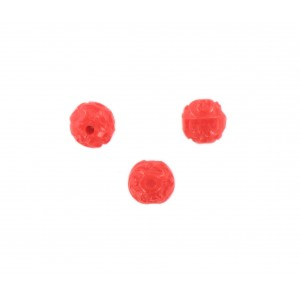Perle ronde motifs arabesques en relief, rouge 9 mm