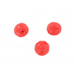 Perle ronde motifs arabesques en relief, rouge 12 mm