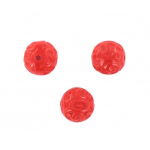 Round bead with embossed arabesque pattern, red 14 mm