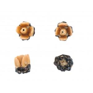 Flower bead, beige black 12x15 mm
