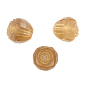 Rosebud cut bead, light topaz 16 mm