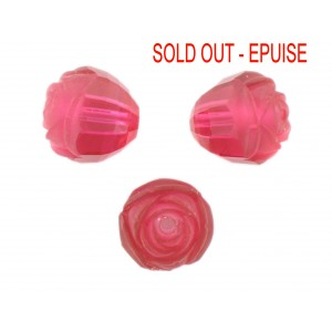 Rosebud cut bead, rose 16 mm