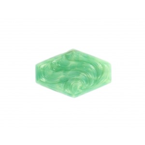 Hexagon cabochon with arabesque embossed pattern, jade 30x19 mm