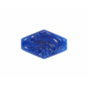 Hexagon cabochon with arabesque embossed pattern, lapis 30x19 mm