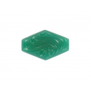 Hexagon cabochon with arabesque embossed pattern, chrysolite 30x19 mm