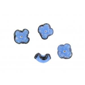 Two tone flower bead, blue black 12 mm