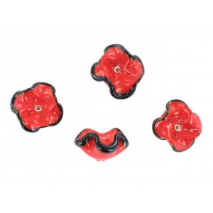 Two tone flower bead, red black 15 mm