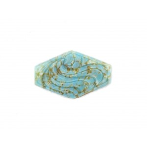Hexagon cabochon with arabesque embossed pattern, turquoise matrix 30x19 mm