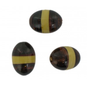 Two tone olive bead, brown and beige 23x17 mm