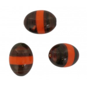 Two tone olive bead, brown and orange 23x17 mm