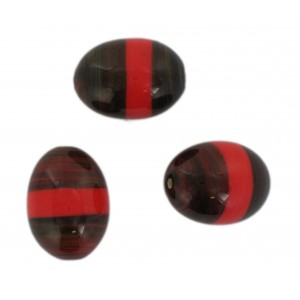 Two tone olive bead, brown and red 23x17 mm