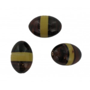 Two tone olive bead, brown and beige 22x16 mm