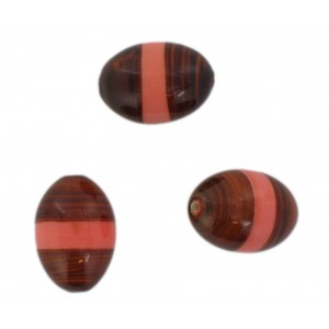 Two tone olive bead, brown and pink 22x16 mm