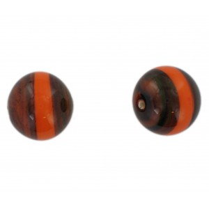 Two tone round bead, brown and orange 20 mm