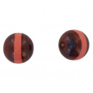 Two tone round bead, brown and pink 20 mm