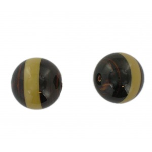 Two tone round bead, brown and beige 20 mm