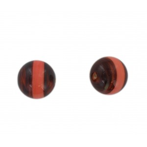 Two tone round bead, brown and pink 16 mm