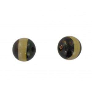 Two tone round bead, brown and beige 16 mm