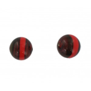 Two tone round bead, brown and red 16 mm