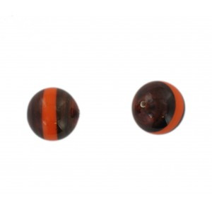 Two tone round bead, brown and orange 16 mm