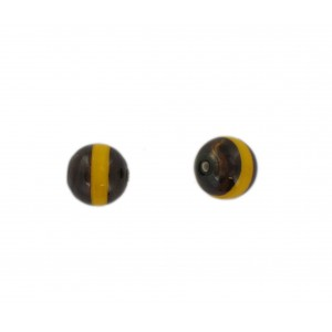 Two tone round bead, brown and yellow 12 mm