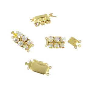 Gilded fastener two raws with iridescent stones, 14x10 mm